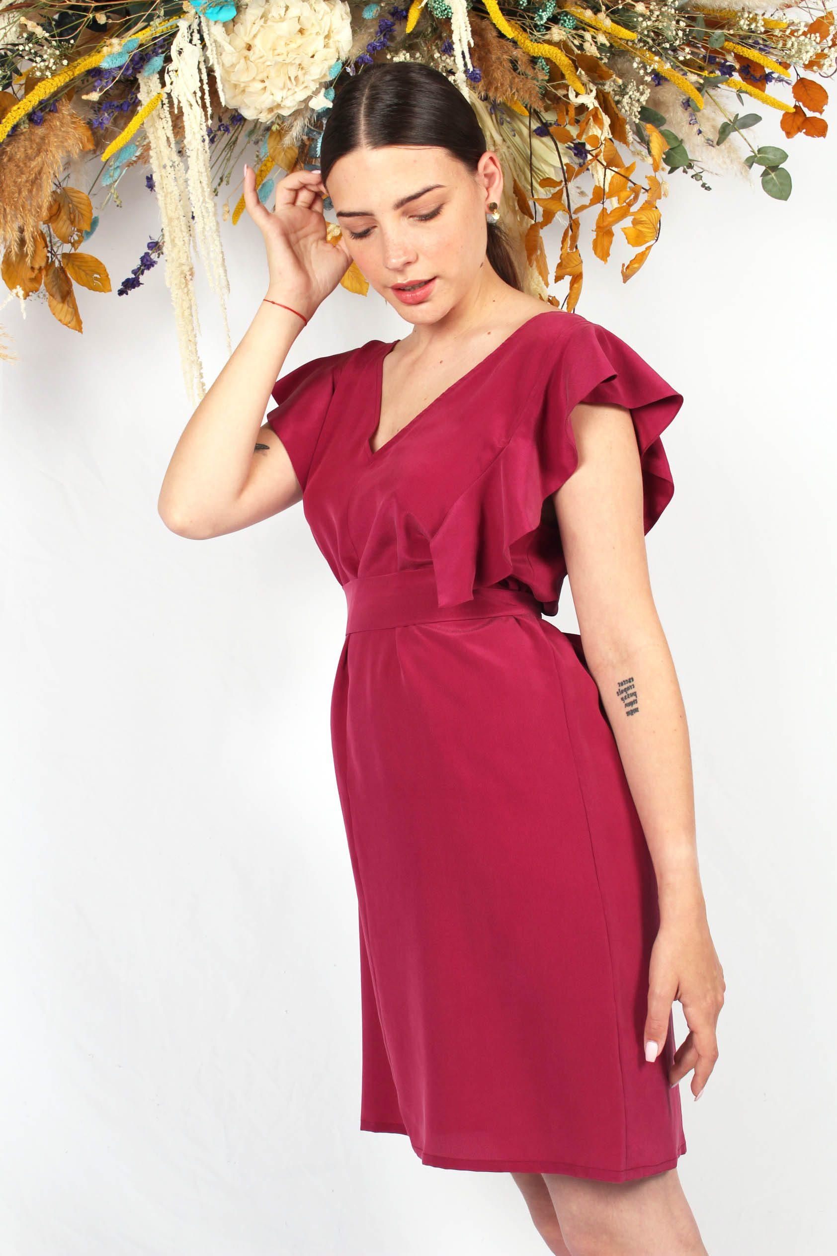 robe en soie framboise à volants5