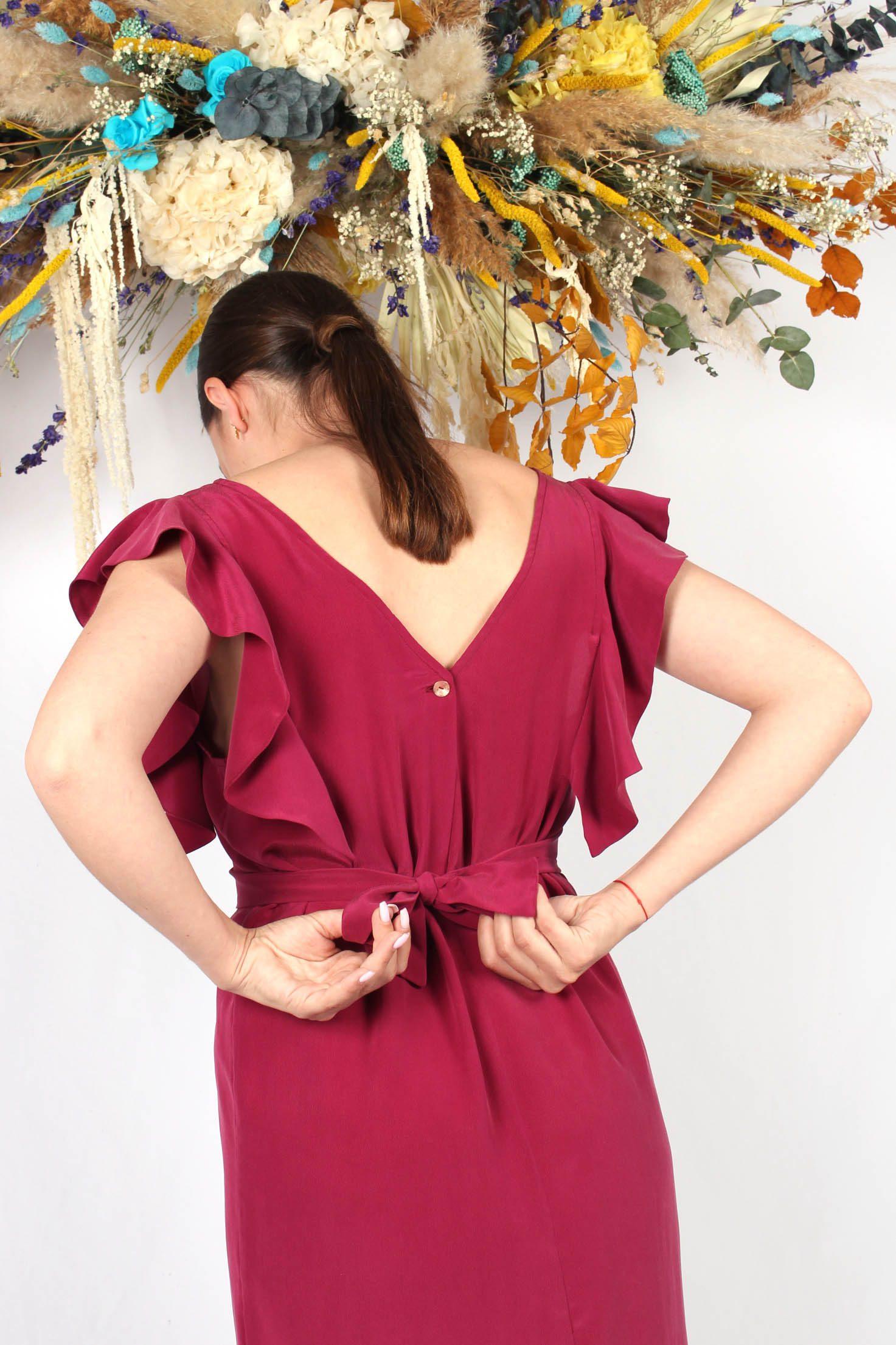 robe en soie framboise à volants6