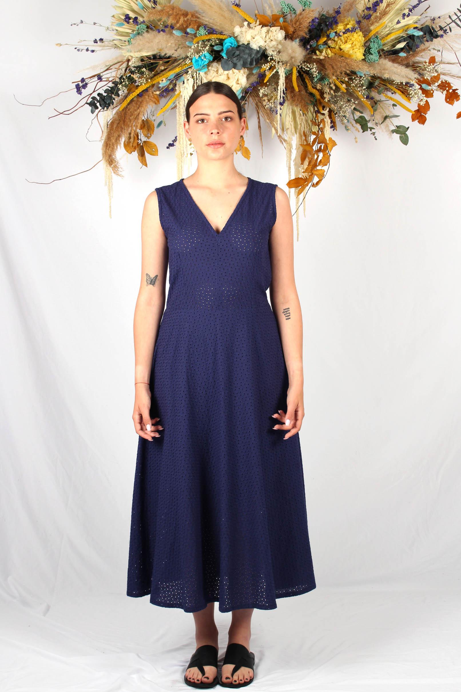 robe longue patineuse bleu marine