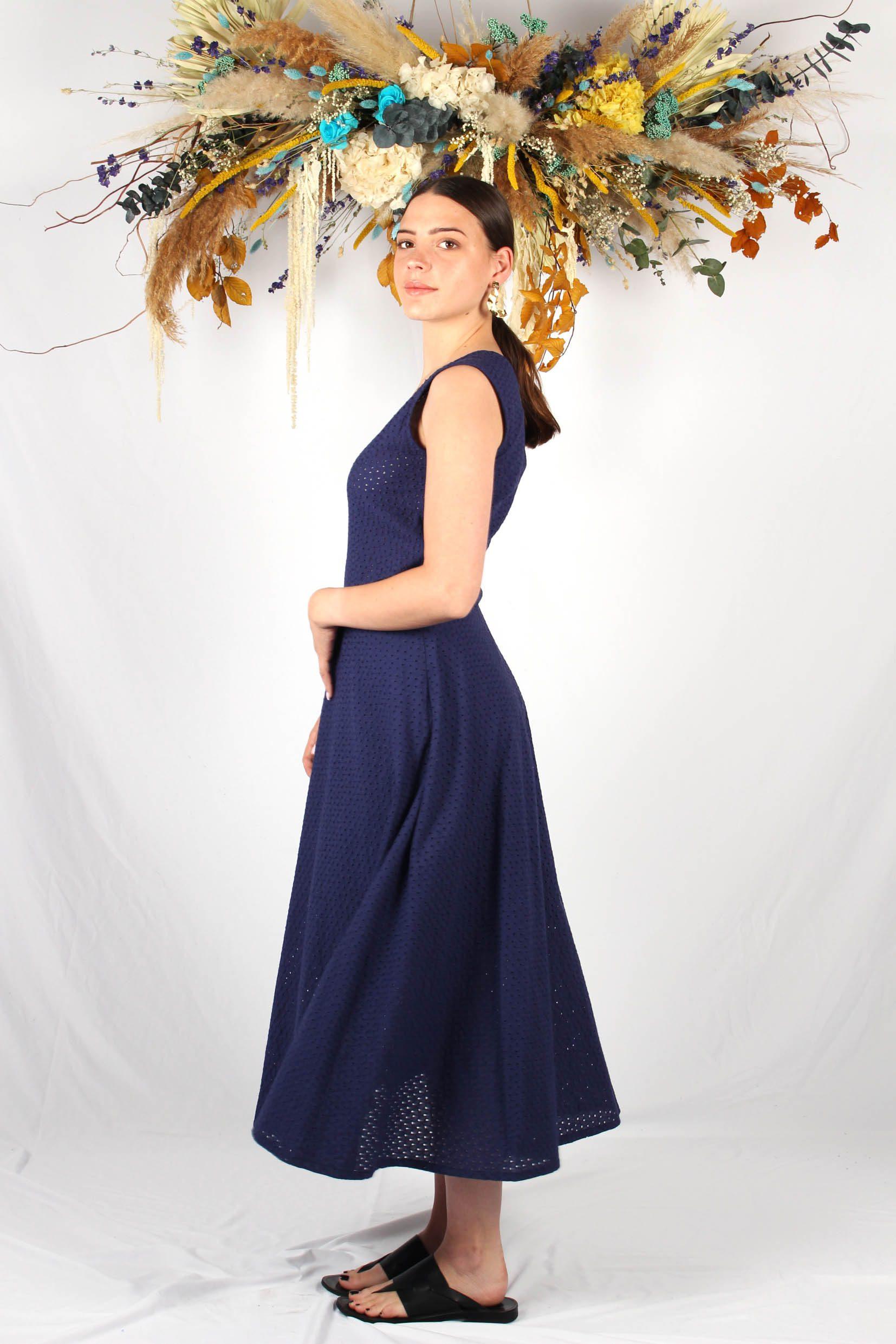 robe longue patineuse bleu marine2