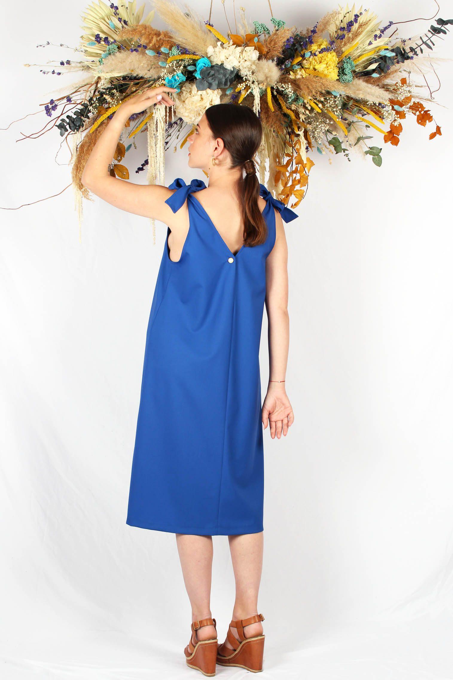 robe mi longue bleu roi5