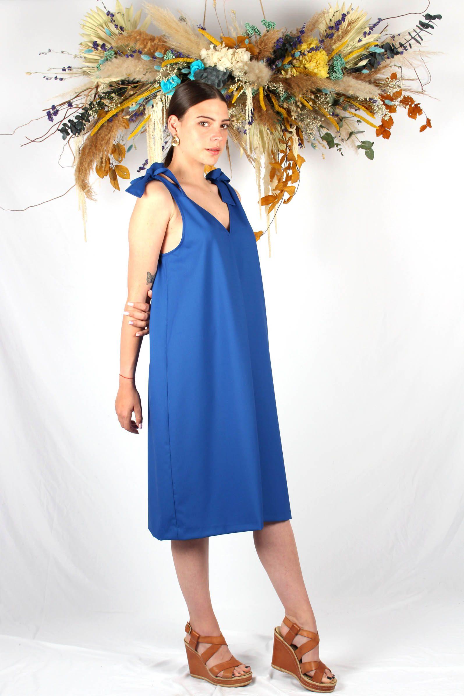 robe mi longue bleu roi6